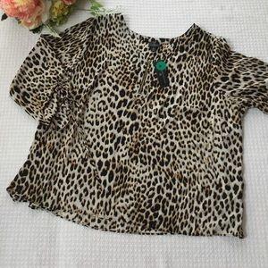 NWT Worthington Cheetah Print Crop Top (A)